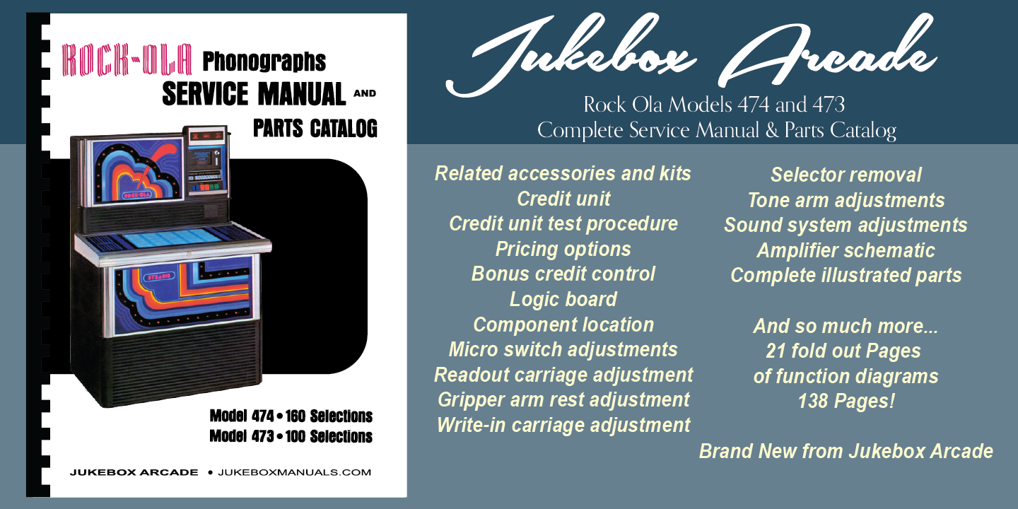 Details about New! Rock Ola Models 474 and 473 Complete Service Manual &  Parts Catalog