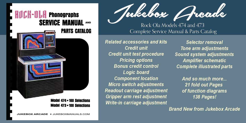 new rock ola models 474 and 473 complete service manual parts rh ebay com Rock Ola Nostalgic Bubbler 1960 Rock Ola Models All